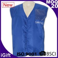 blue workwear vest jacket with logo